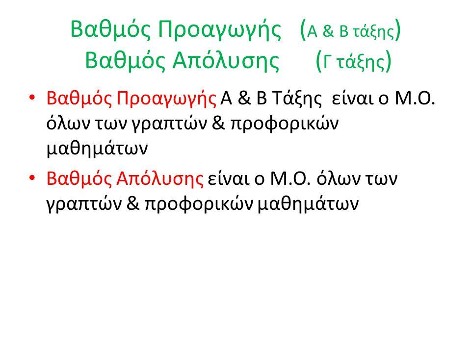 Βαθμός Προαγωγής ( Α & Β τάξης ) Βαθμός Απόλυσης ( Γ τάξης ) • Βαθμός Προαγωγής Α & Β Τάξης είναι ο Μ.Ο. όλων των γραπτών & προφορικών μαθημάτων • Βαθ