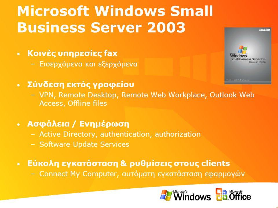 Microsoft Windows Small Business Server 2003 • Κοινές υπηρεσίες fax –Εισερχόμενα και εξερχόμενα • Σύνδεση εκτός γραφείου –VPN, Remote Desktop, Remote