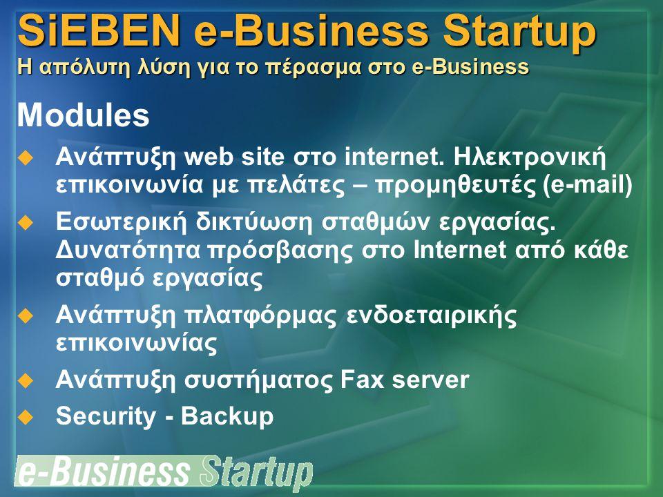 SiEBEN e-Business Startup Η απόλυτη λύση για το πέρασμα στο e-Business Modules  Ανάπτυξη web site στο internet. Ηλεκτρονική επικοινωνία με πελάτες –