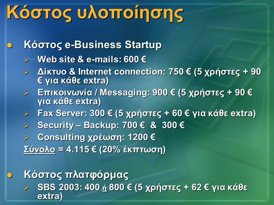 Κόστος υλοποίησης  Κόστος e-Business Startup  Web site & e-mails: 600 €  Δίκτυο & Internet connection: 750 € (5 χρήστες + 90 € για κάθε extra)  Επ