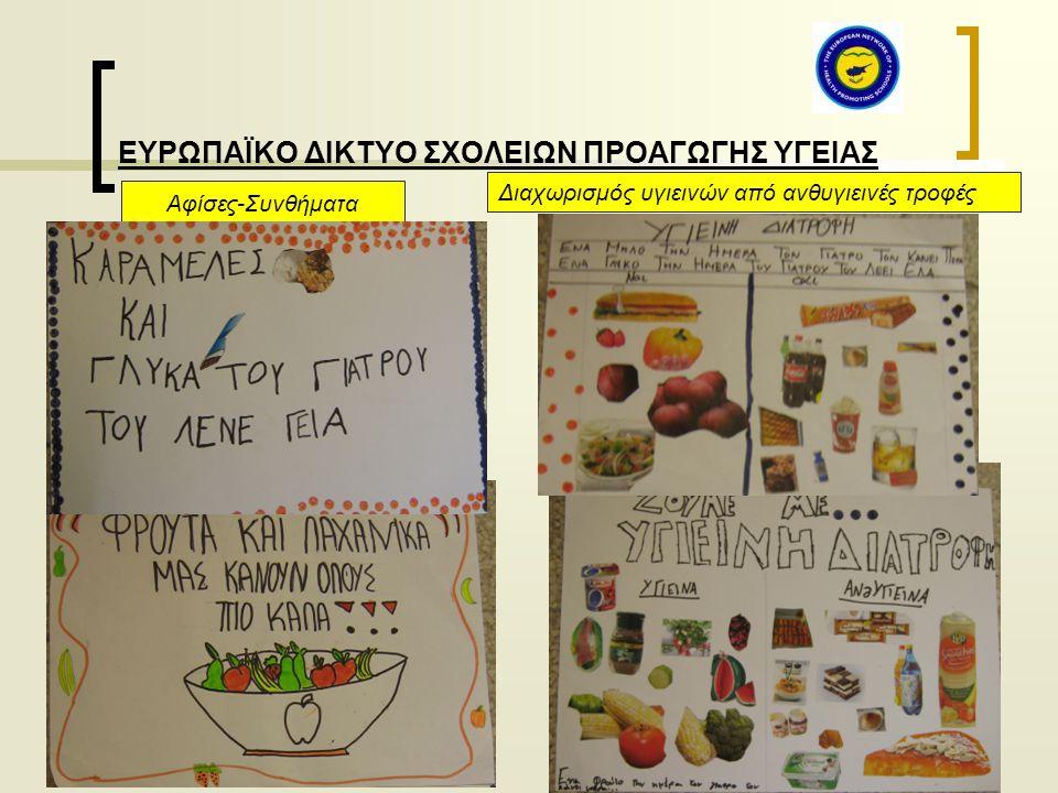 ΕΥΡΩΠΑΪΚΟ ΔΙΚΤΥΟ ΣΧΟΛΕΙΩΝ ΠΡΟΑΓΩΓΗΣ ΥΓΕΙΑΣ Αφίσες-Συνθήματα Διαχωρισμός υγιεινών από ανθυγιεινές τροφές