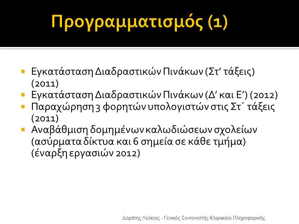  Εγκατάσταση Διαδραστικών Πινάκων (Στ' τάξεις) (2011)  Εγκατάσταση Διαδραστικών Πινάκων (Δ' και Ε') (2012)  Παραχώρηση 3 φορητών υπολογιστών στις Στ΄ τάξεις (2011)  Αναβάθμιση δομημένων καλωδιώσεων σχολείων (ασύρματα δίκτυα και 6 σημεία σε κάθε τμήμα) (έναρξη εργασιών 2012) Δοράτης Λεύκιος - Γενικός Συντονιστής Κλιμακίου Πληροφορικής