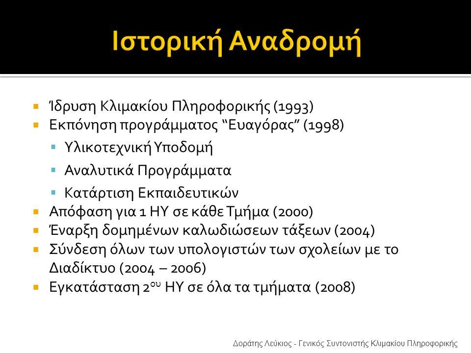  Ίδρυση Κλιμακίου Πληροφορικής (1993)  Εκπόνηση προγράμματος Ευαγόρας (1998)  Υλικοτεχνική Υποδομή  Αναλυτικά Προγράμματα  Κατάρτιση Εκπαιδευτικών  Απόφαση για 1 ΗΥ σε κάθε Τμήμα (2000)  Έναρξη δομημένων καλωδιώσεων τάξεων (2004)  Σύνδεση όλων των υπολογιστών των σχολείων με το Διαδίκτυο (2004 – 2006)  Εγκατάσταση 2 ου ΗΥ σε όλα τα τμήματα (2008) Δοράτης Λεύκιος - Γενικός Συντονιστής Κλιμακίου Πληροφορικής