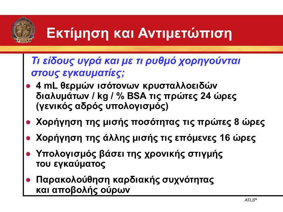Εκτίμηση και Αντιμετώπιση ● 4 mL θερμών ισότονων κρυσταλλοειδών διαλυμάτων / kg / % BSA τις πρώτες 24 ώρες (γενικός αδρός υπολογισμός) ● Χορήγηση της