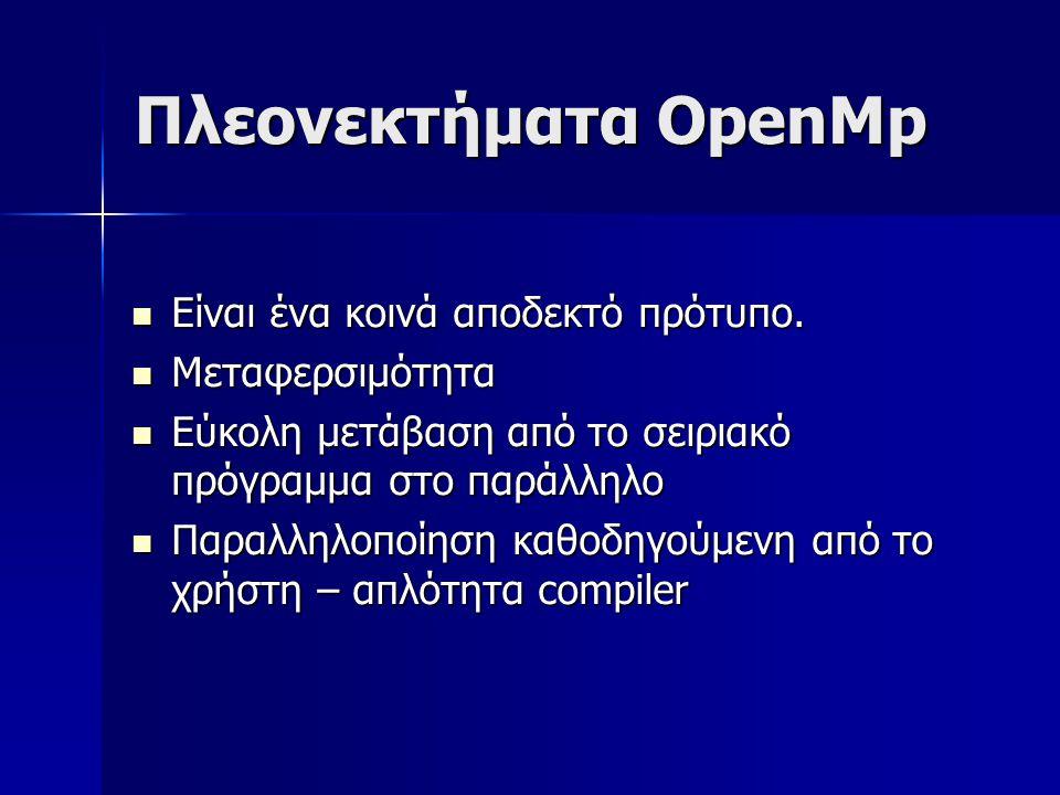 Πλεονεκτήματα OpenMp  Είναι ένα κοινά αποδεκτό πρότυπο.