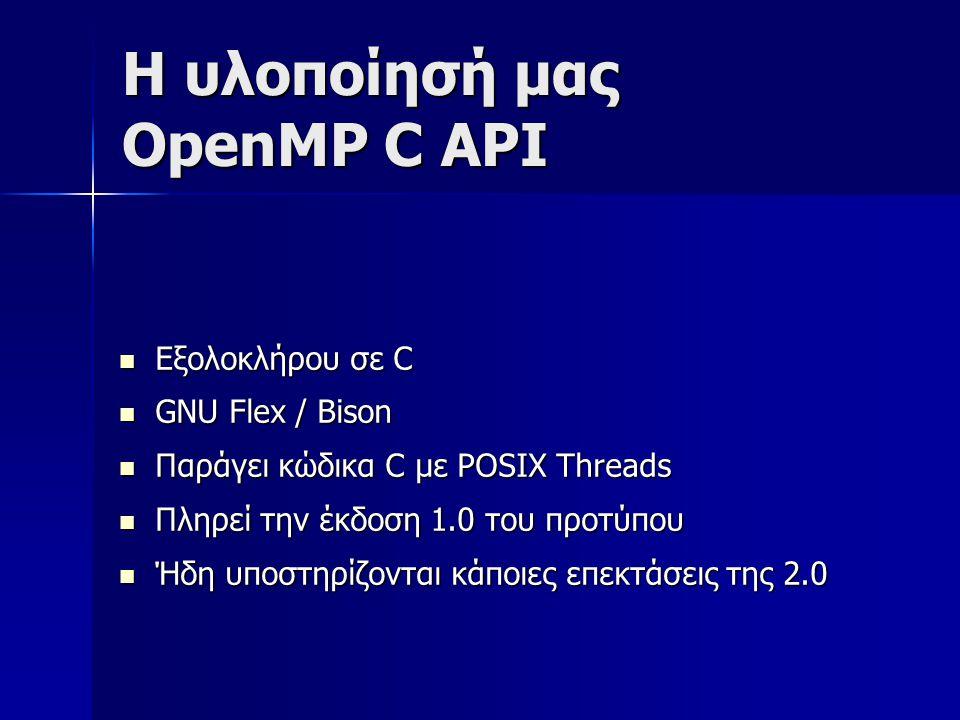 Η υλοποίησή μας OpenMP C API  Εξολοκλήρου σε C  GNU Flex / Bison  Παράγει κώδικα C με POSIX Threads  Πληρεί την έκδοση 1.0 του προτύπου  Ήδη υποστηρίζονται κάποιες επεκτάσεις της 2.0