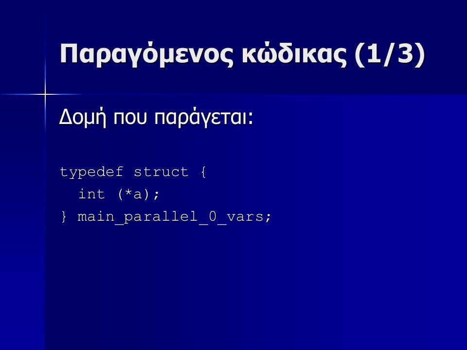Παραγόμενος κώδικας (1/3) Δομή που παράγεται: typedef struct { int (*a); int (*a); } main_parallel_0_vars;