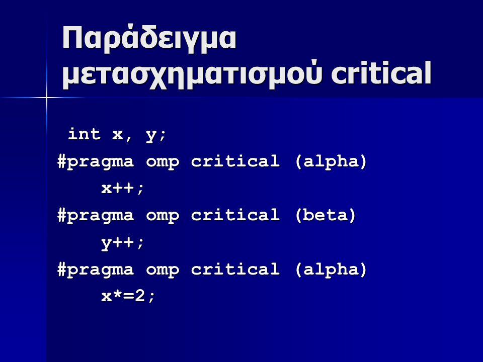 Παράδειγμα μετασχηματισμού critical int x, y; int x, y; #pragma omp critical (alpha) x++; x++; #pragma omp critical (beta) y++; y++; #pragma omp critical (alpha) x*=2; x*=2;