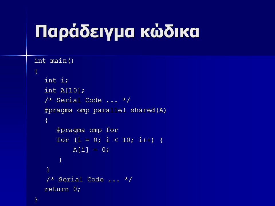 Παράδειγμα κώδικα int main() { int i; int A[10]; /* Serial Code...