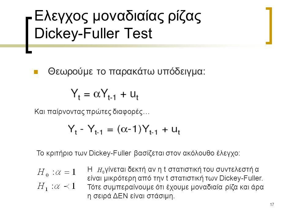17 Ελεγχος μοναδιαίας ρίζας Dickey-Fuller Test  Θεωρούμε το παρακάτω υπόδειγμα: Και παίρνοντας πρώτες διαφορές… Το κριτήριο των Dickey-Fuller βασίζετ