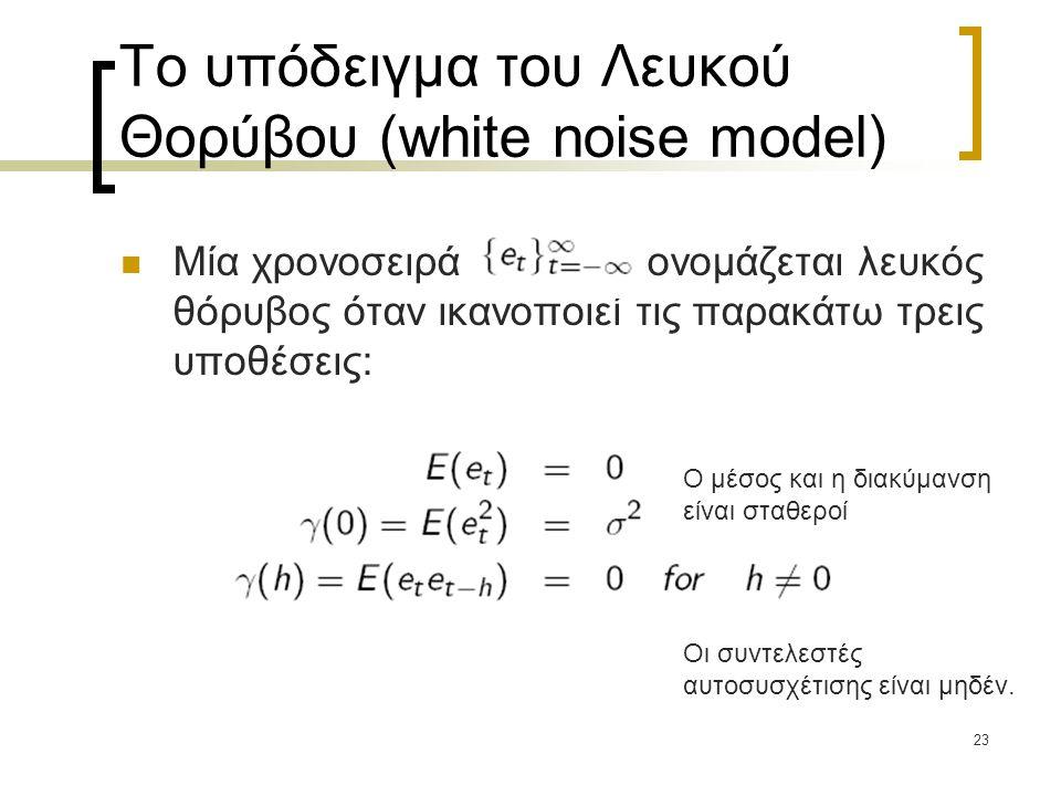 23 Το υπόδειγμα του Λευκού Θορύβου (white noise model)  Μία χρονοσειρά ονομάζεται λευκός θόρυβος όταν ικανοποιεί τις παρακάτω τρεις υποθέσεις: Ο μέσο