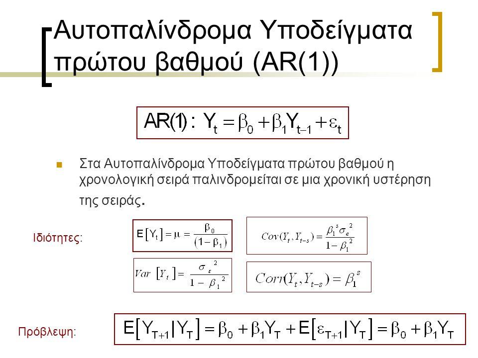 24 Αυτοπαλίνδρομα Υποδείγματα πρώτου βαθμού (AR(1))  Στα Αυτοπαλίνδρομα Υποδείγματα πρώτου βαθμού η χρονολογική σειρά παλινδρομείται σε μια χρονική υ
