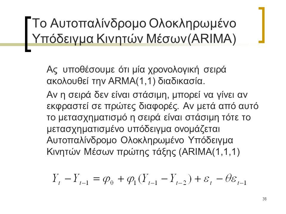 38 Το Αυτοπαλίνδρομο Ολοκληρωμένο Υπόδειγμα Κινητών Μέσων(ARIMA) Ας υποθέσουμε ότι μία χρονολογική σειρά ακολουθεί την ARMA(1,1) διαδικασία. Αν η σειρ