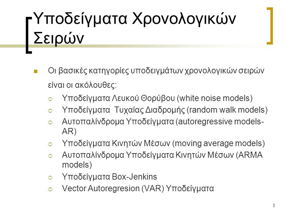 5 Υποδείγματα Χρονολογικών Σειρών  Οι βασικές κατηγορίες υποδειγμάτων χρονολογικών σειρών είναι οι ακόλουθες:  Υποδείγματα Λευκού Θορύβου (white noi