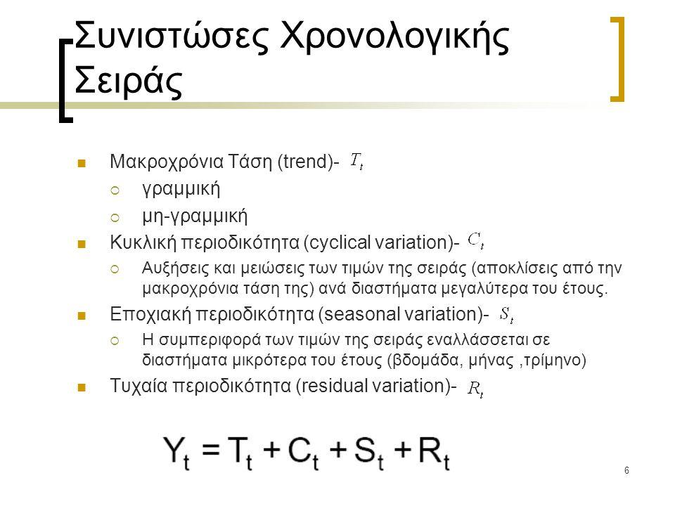 37 Η μέθοδος Box-Jenkins (BJ) Η μέθοδος εφαρμόζεται όταν η χρονοσειρά δεν είναι στάσιμη και περιλαμβάνει 4 στάδια ανάλυσης: -Ταυτοποίηση (Identification) -Εκτίμηση (Estimation) -Διαγνωστικός έλεγχος (Diagnostic checking) -Πρόβλεψη (Forecasting) Αρχικά ελέγχεται η στασιμότητα της σειράς και η ύπαρξη μοναδιαίας ρίζας και στην συνέχεια εκτιμάται ένα μοντέλο ARIMA ακολουθώντας τις παρακάτω δυο αρχές: -parsimony (do not overfit) -goodness of fit (based on information criteria)
