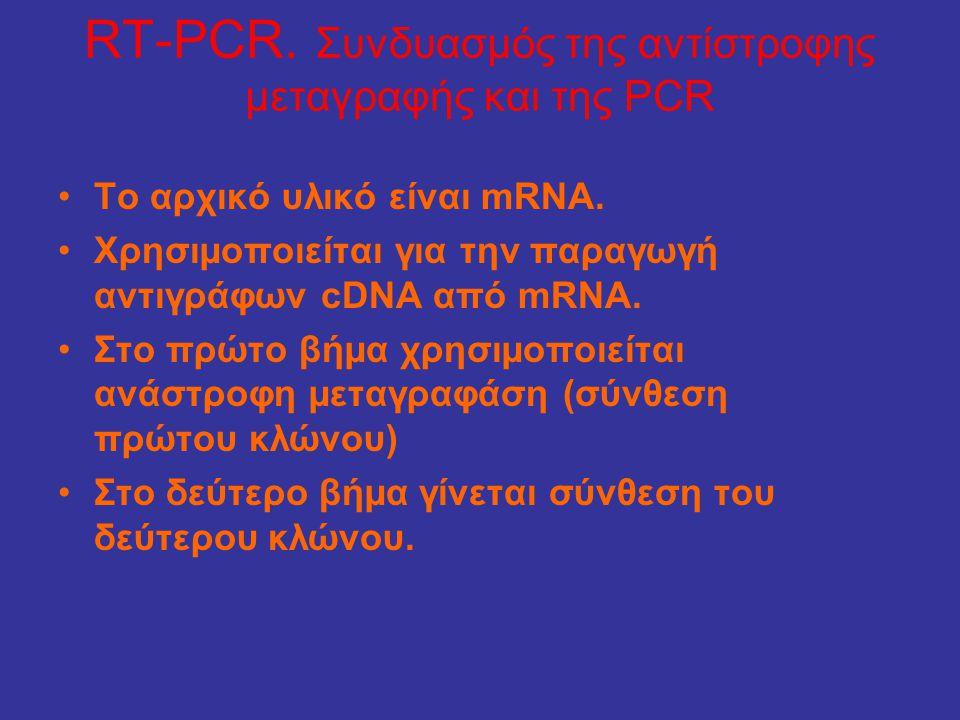 RT-PCR. Συνδυασμός της αντίστροφης μεταγραφής και της PCR •Το αρχικό υλικό είναι mRNA. •Χρησιµοποιείται για την παραγωγή αντιγράφων cDNA από mRNA. •Στ