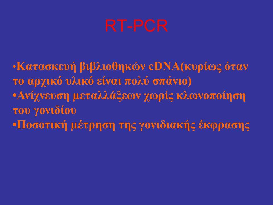 RT-PCR • Κατασκευή βιβλιοθηκών cDNA(κυρίως όταν το αρχικό υλικό είναι πολύ σπάνιο) •Ανίχνευση µεταλλάξεων χωρίς κλωνοποίηση του γονιδίου •Ποσοτική µέτ