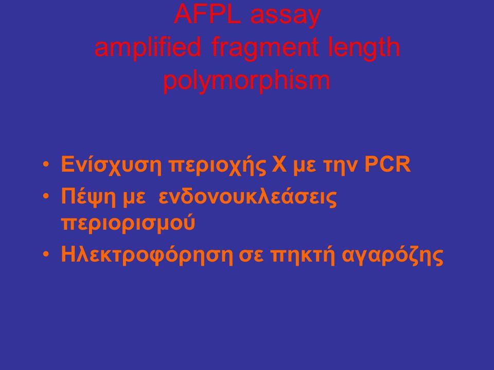 AFPL assay amplified fragment length polymorphism •Ενίσχυση περιοχής Χ με την PCR •Πέψη με ενδονουκλεάσεις περιορισμού •Ηλεκτροφόρηση σε πηκτή αγαρόζη