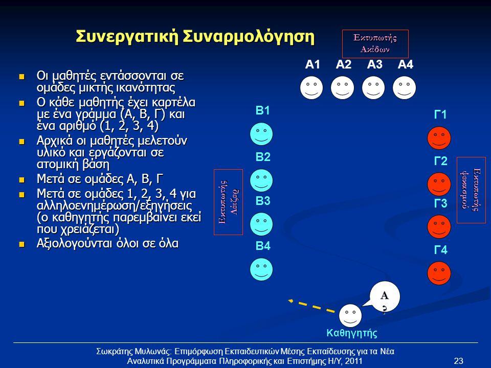 23 Σωκράτης Μυλωνάς: Επιμόρφωση Εκπαιδευτικών Μέσης Εκπαίδευσης για τα Νέα Αναλυτικά Προγράμματα Πληροφορικής και Επιστήμης Η/Υ, 2011 Συνεργατική Συνα