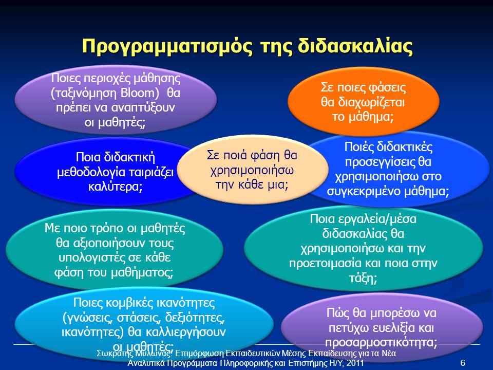 Ταξινόμηση (Bloom) Γνώση Κατανόηση Εφαρμογή Ανάλυση Αξιολόγηση Δημιουργία Καθορίζουμε μέχρι ποιό στάδιο στοχεύουμε για το μάθημά μας Μαθητής που κατέχει (προαπαιτούμενη) γνώση Μαθητής που χρειάζεται να αποκτήσει (προαπαιτούμενη) γνώση «Χαρισματικός» μαθητής (προχωρεί μέσα από επιπρόσθετες δραστηριότητες) Σωκράτης Μυλωνάς: Επιμόρφωση Εκπαιδευτικών Μέσης Εκπαίδευσης για τα Νέα Αναλυτικά Προγράμματα Πληροφορικής και Επιστήμης Η/Υ, 20117
