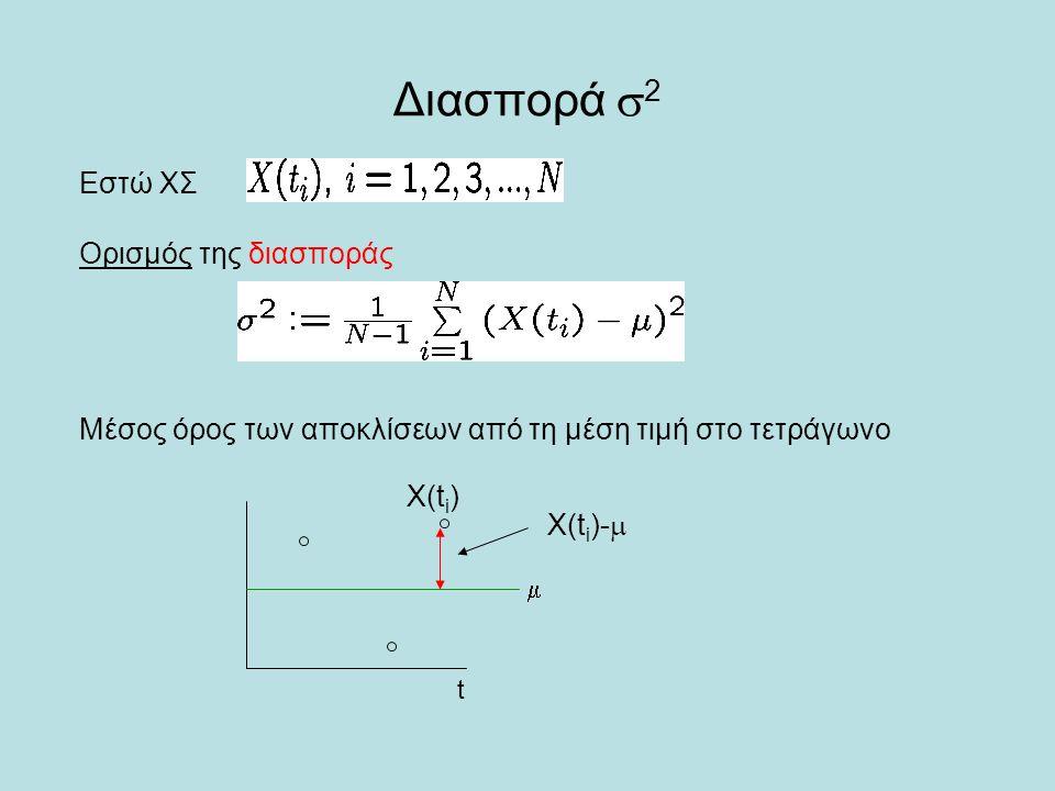 Διασπορά  2 Εστώ ΧΣ Ορισμός της διασποράς Μέσος όρος των αποκλίσεων από τη μέση τιμή στο τετράγωνο X(t i ) X(t i )-   t
