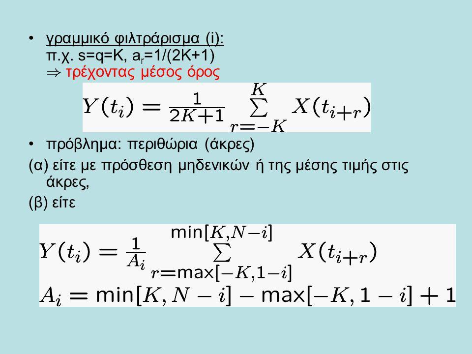 •γραμμικό φιλτράρισμα (i): π.χ. s=q=K, a r =1/(2K+1) ) τρέχοντας μέσος όρος •πρόβλημα: περιθώρια (άκρες) (α) είτε με πρόσθεση μηδενικών ή της μέσης τι