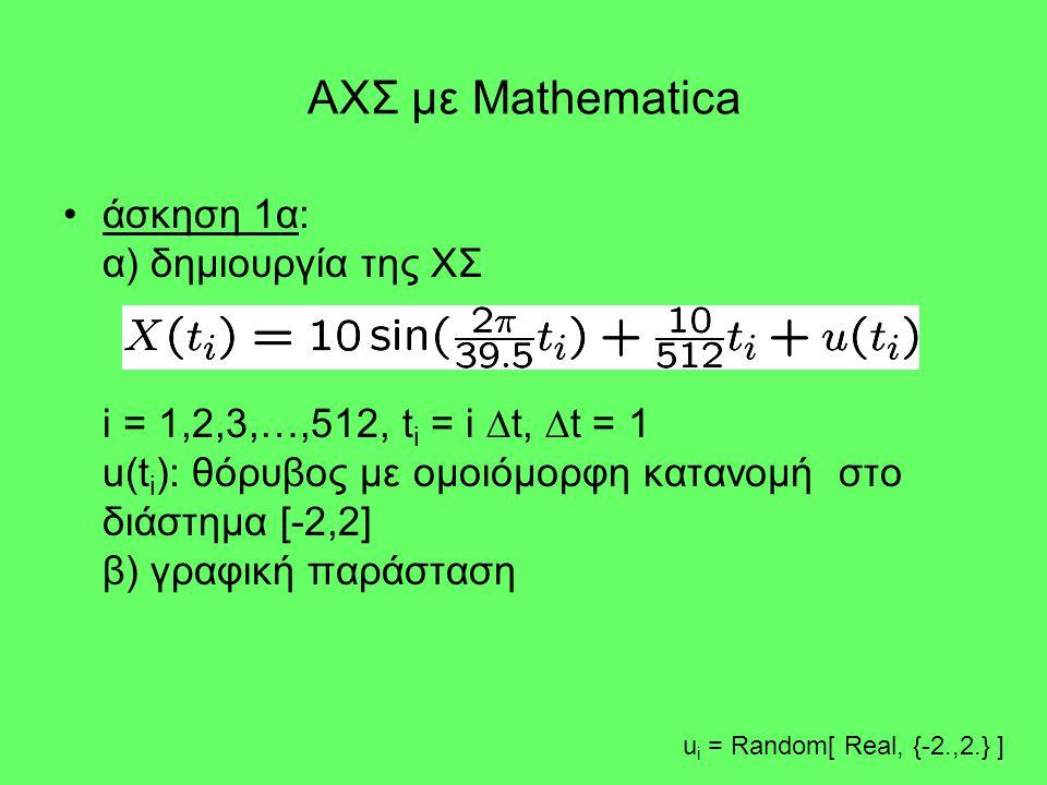 ΑΧΣ με Mathematica •άσκηση 1α: α) δημιουργία της ΧΣ i = 1,2,3,…,512, t i = i  t,  t = 1 u(t i ): θόρυβος με ομοιόμορφη κατανομή στο διάστημα [-2,2]