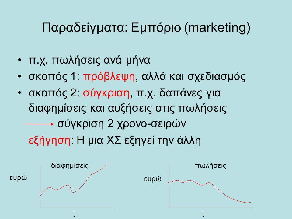 Παραδείγματα: Εμπόριο (marketing) •π.χ. πωλήσεις ανά μήνα •σκοπός 1: πρόβλεψη, αλλά και σχεδιασμός •σκοπός 2: σύγκριση, π.χ. δαπάνες για διαφημίσεις κ