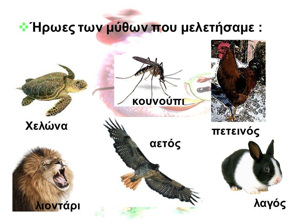  Ήρωες των μύθων που μελετήσαμε : κουνούπι Χελώνα λαγός πετεινός αετός λιοντάρι