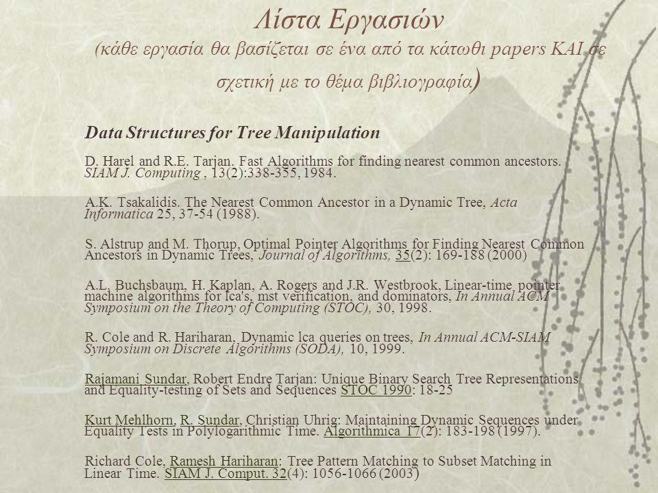 Λίστα Εργασιών (κάθε εργασία θα βασίζεται σε ένα από τα κάτωθι papers ΚΑΙ σε σχετική με το θέμα βιβλιογραφία ) Data Structures for Tree Manipulation D