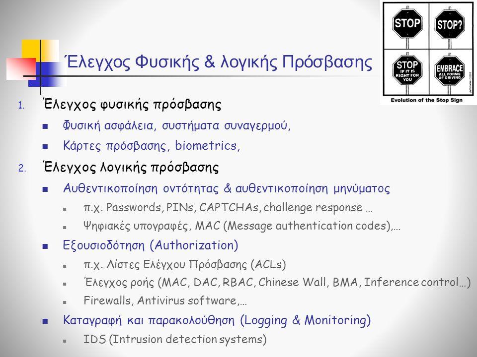 Έλεγχος Φυσικής & λογικής Πρόσβασης 1. Έλεγχος φυσικής πρόσβασης  Φυσική ασφάλεια, συστήματα συναγερμού,  Κάρτες πρόσβασης, biometrics, 2. Έλεγχος λ