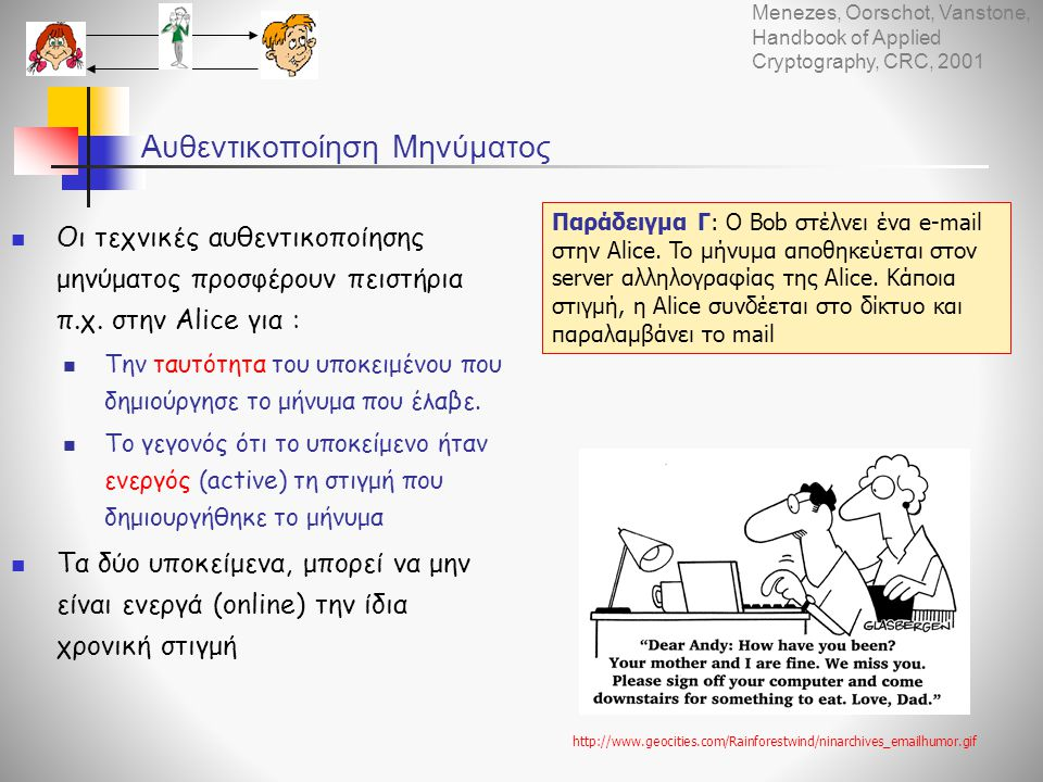 Αυθεντικοποίηση Μηνύματος  Οι τεχνικές αυθεντικοποίησης μηνύματος προσφέρουν πειστήρια π.χ. στην Alice για :  Την ταυτότητα του υποκειμένου που δημι