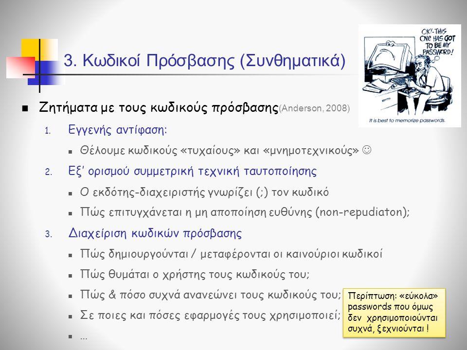3. Κωδικοί Πρόσβασης (Συνθηματικά)  Ζητήματα με τους κωδικούς πρόσβασης 1. Εγγενής αντίφαση:  Θέλουμε κωδικούς «τυχαίους» και «μνημοτεχνικούς»  2.