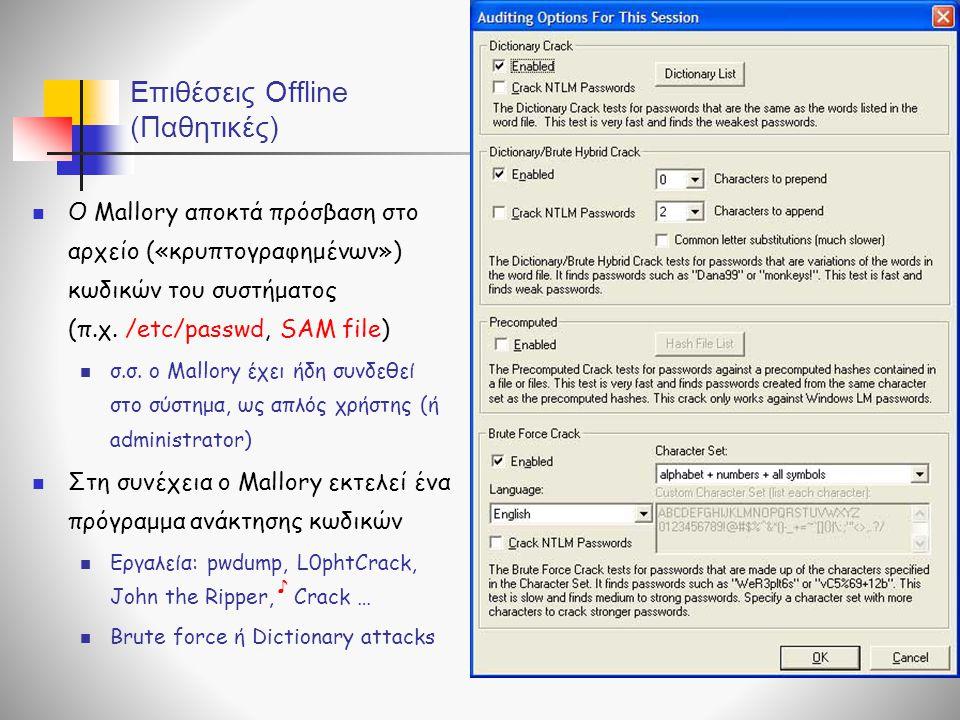 Επιθέσεις Offline (Παθητικές)  O Mallory αποκτά πρόσβαση στο αρχείο («κρυπτογραφημένων») κωδικών του συστήματος (π.χ. /etc/passwd, SAM file)  σ.σ. o