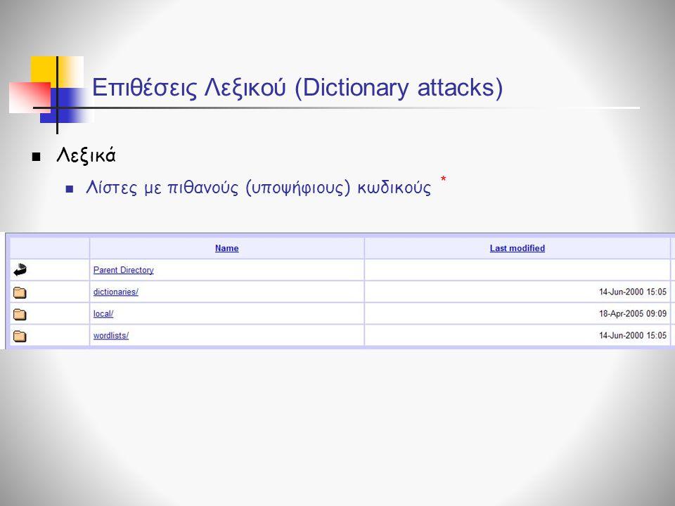 Επιθέσεις Λεξικού (Dictionary attacks)  Λεξικά  Λίστες με πιθανούς (υποψήφιους) κωδικούς *