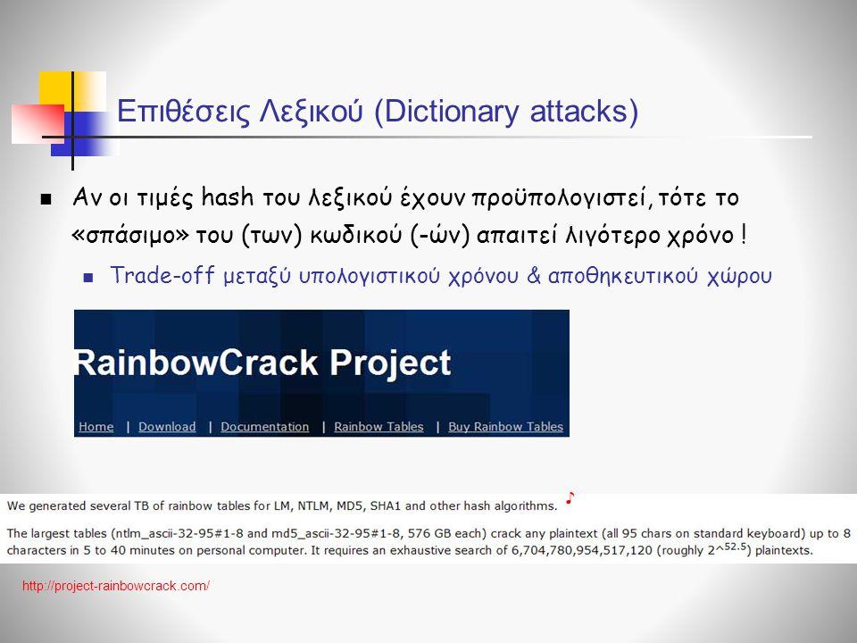 Επιθέσεις Λεξικού (Dictionary attacks)  Αν οι τιμές hash του λεξικού έχουν προϋπολογιστεί, τότε το «σπάσιμο» του (των) κωδικού (-ών) απαιτεί λιγότερο χρόνο .