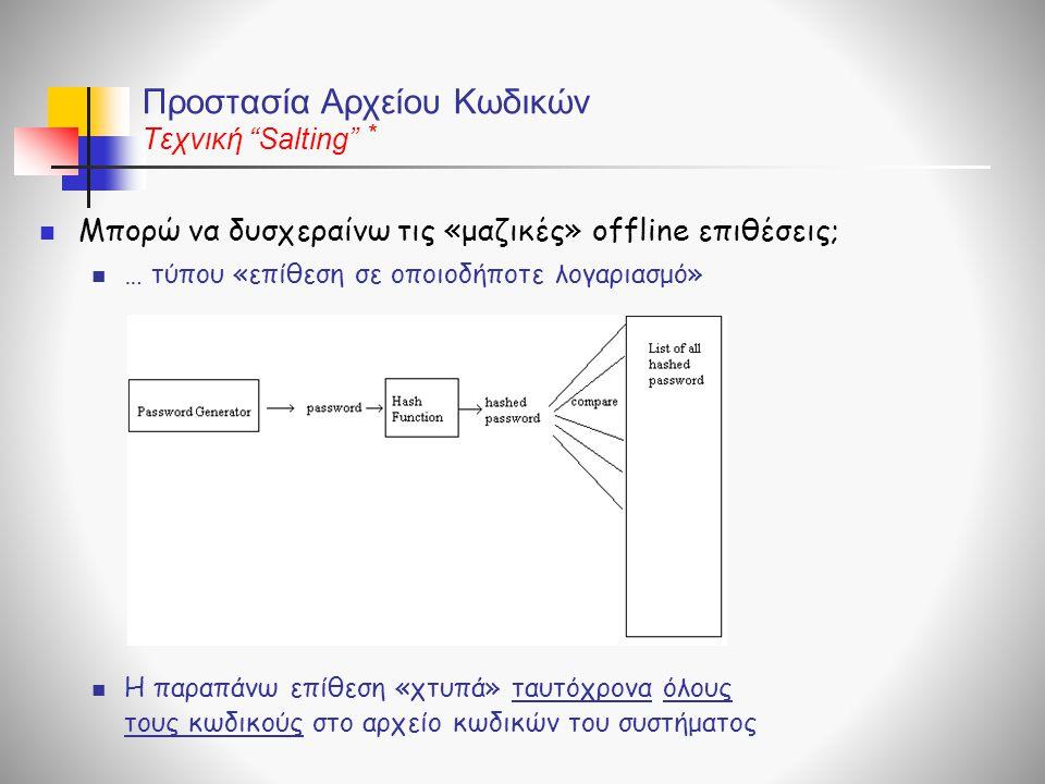 Προστασία Αρχείου Κωδικών Τεχνική Salting  Μπορώ να δυσχεραίνω τις «μαζικές» offline επιθέσεις;  … τύπου «επίθεση σε οποιοδήποτε λογαριασμό»  Η παραπάνω επίθεση «χτυπά» ταυτόχρονα όλους τους κωδικούς στο αρχείο κωδικών του συστήματος *