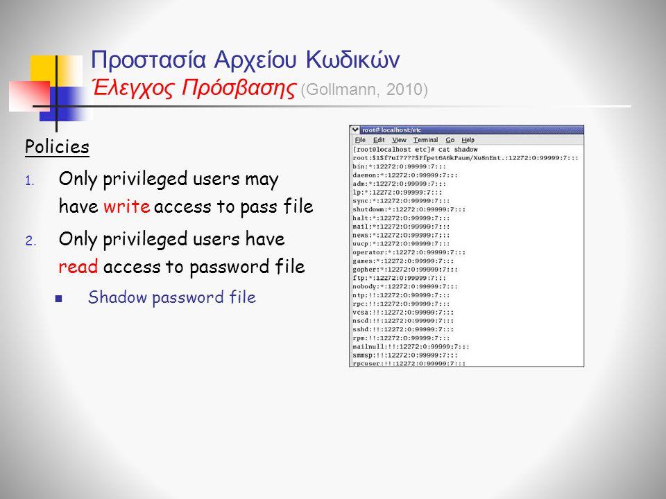 Προστασία Αρχείου Κωδικών Έλεγχος Πρόσβασης Policies 1. Only privileged users may have write access to pass file 2. Only privileged users have read ac