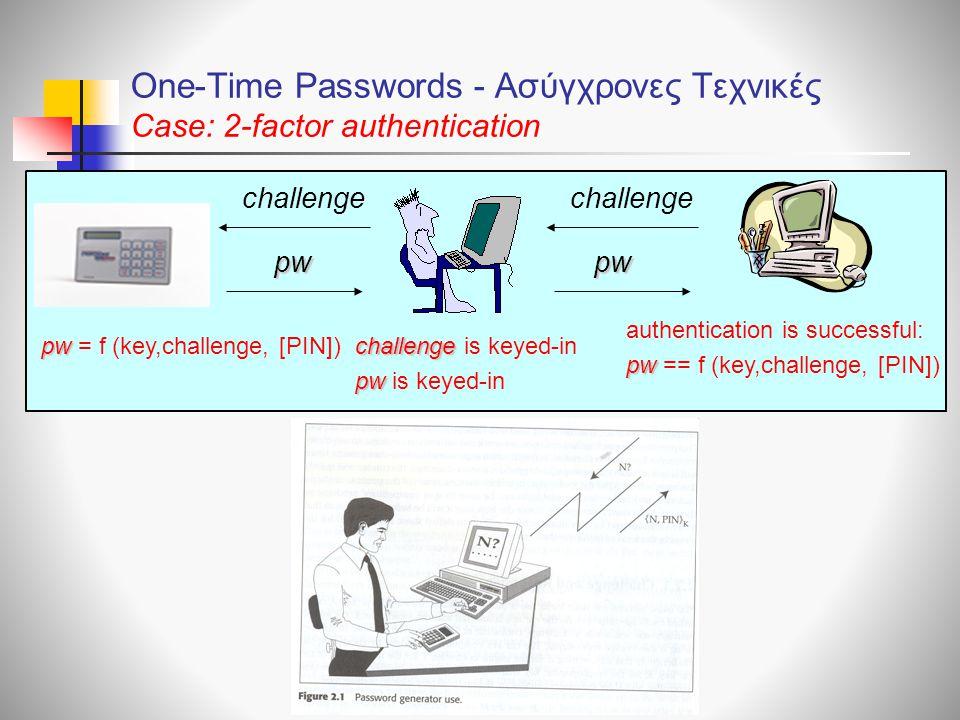 One-Time Passwords - Ασύγχρονες Τεχνικές Case: 2-factor authentication challenge pw pw = f (key,challenge, [PIN]) authentication is successful: pw pw == f (key,challenge, [PIN]) challenge challenge is keyed-in pw pw is keyed-in pwpw challenge