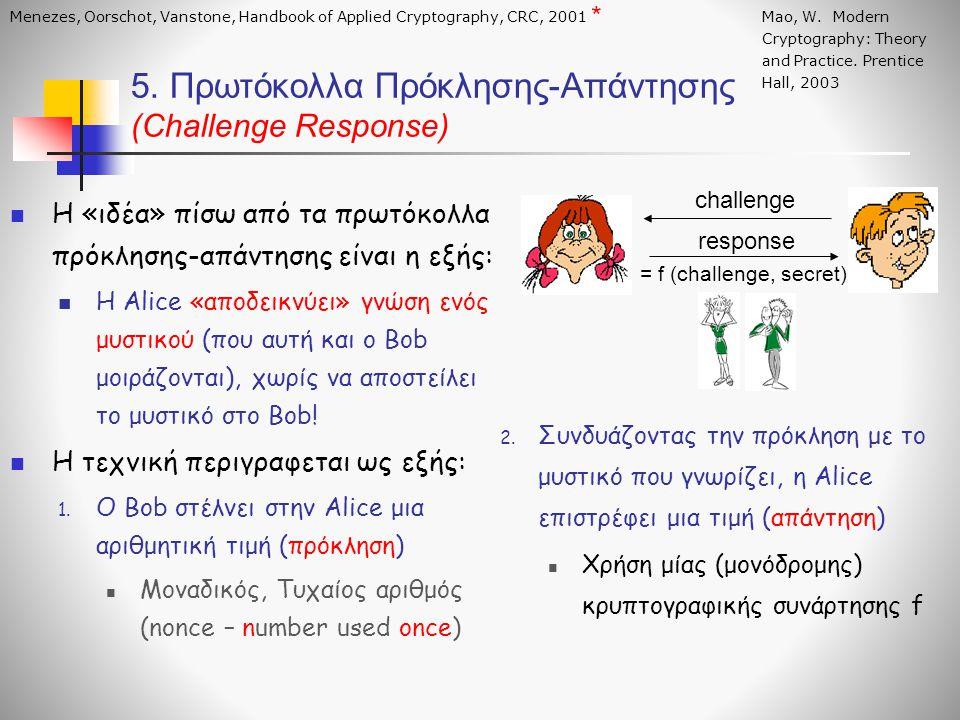  H «ιδέα» πίσω από τα πρωτόκολλα πρόκλησης-απάντησης είναι η εξής:  Η Alice «αποδεικνύει» γνώση ενός μυστικού (που αυτή και ο Bob μοιράζονται), χωρί