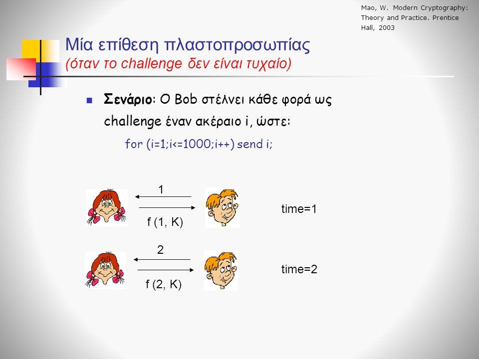 Μία επίθεση πλαστοπροσωπίας (όταν το challenge δεν είναι τυχαίο)  Σενάριο: Ο Bob στέλνει κάθε φορά ως challenge έναν ακέραιο i, ώστε: for (i=1;i<=1000;i++) send i; 1 f (1, K) f (2, K) time=1 2 time=2 Mao, W.