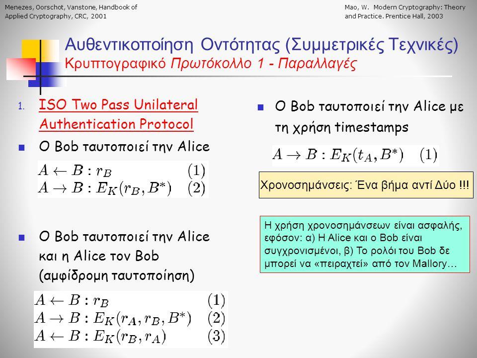 Αυθεντικοποίηση Οντότητας (Συμμετρικές Τεχνικές) Κρυπτογραφικό Πρωτόκολλο 1 - Παραλλαγές 1. ISO Two Pass Unilateral Authentication Protocol  Ο Bob τα