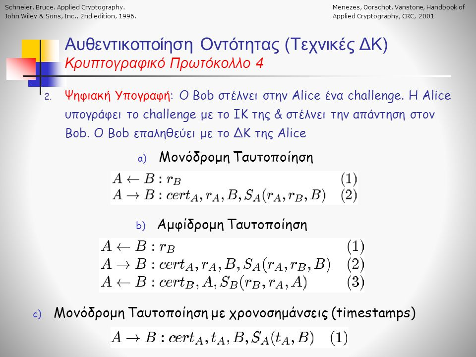 Αυθεντικοποίηση Οντότητας (Τεχνικές ΔΚ) Κρυπτογραφικό Πρωτόκολλο 4 2. Ψηφιακή Υπογραφή: O Bob στέλνει στην Alice ένα challenge. Η Alice υπογράφει το c