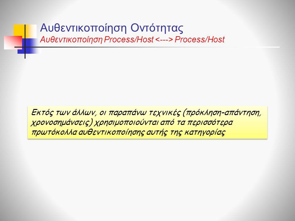 Αυθεντικοποίηση Οντότητας Αυθεντικοποίηση Process/Host Process/Host Εκτός των άλλων, οι παραπάνω τεχνικές (πρόκληση-απάντηση, χρονοσημάνσεις) χρησιμοποιούνται από τα περισσότερα πρωτόκολλα αυθεντικοποίησης αυτής της κατηγορίας