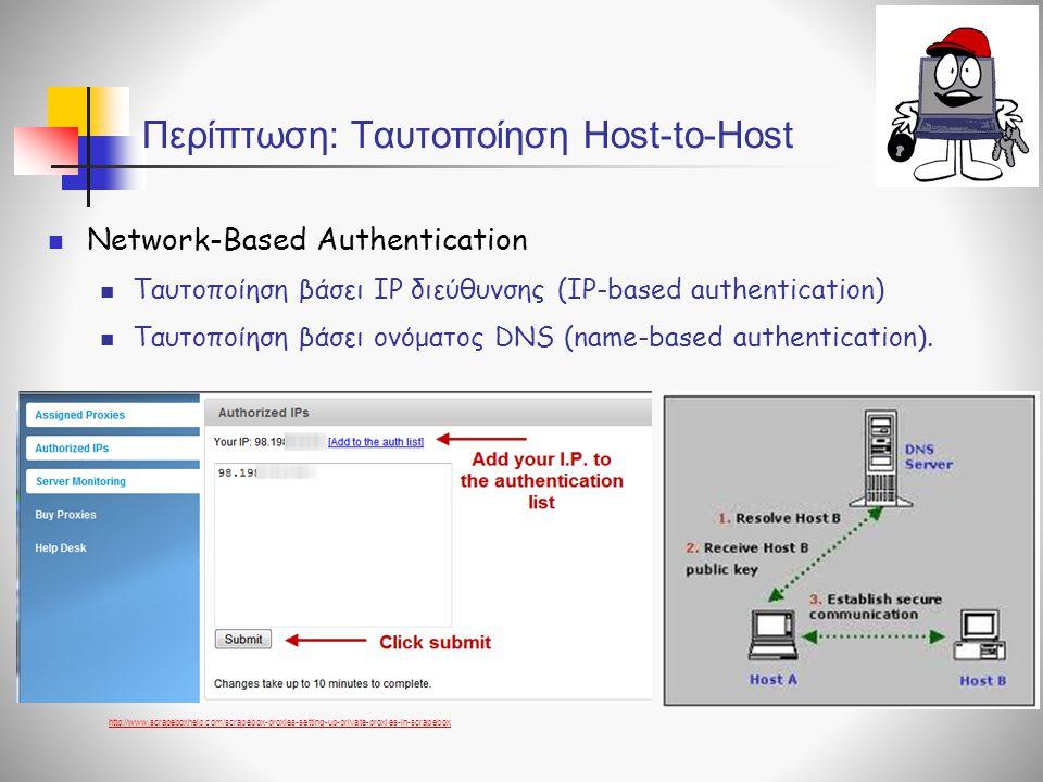 Περίπτωση: Ταυτοποίηση Host-to-Host  Network-Based Authentication  Ταυτοποίηση βάσει IP διεύθυνσης (IP-based authentication)  Ταυτοποίηση βάσει ονόματος DNS (name-based authentication).