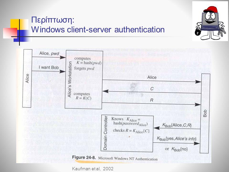 Περίπτωση: Windows client-server authentication Kaufman et al, 2002