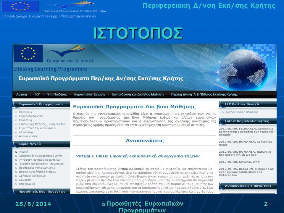 Περιφερειακή Δ/νση Εκπ/σης Κρήτης28/6/2014  Προωθητές Ευρωπαϊκών Προγραμμάτων 2 ΙΣΤΟΤΟΠΟΣ