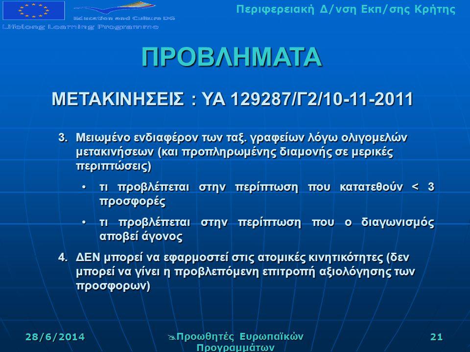 Περιφερειακή Δ/νση Εκπ/σης Κρήτης28/6/2014  Προωθητές Ευρωπαϊκών Προγραμμάτων 21 3.Μειωμένο ενδιαφέρον των ταξ.