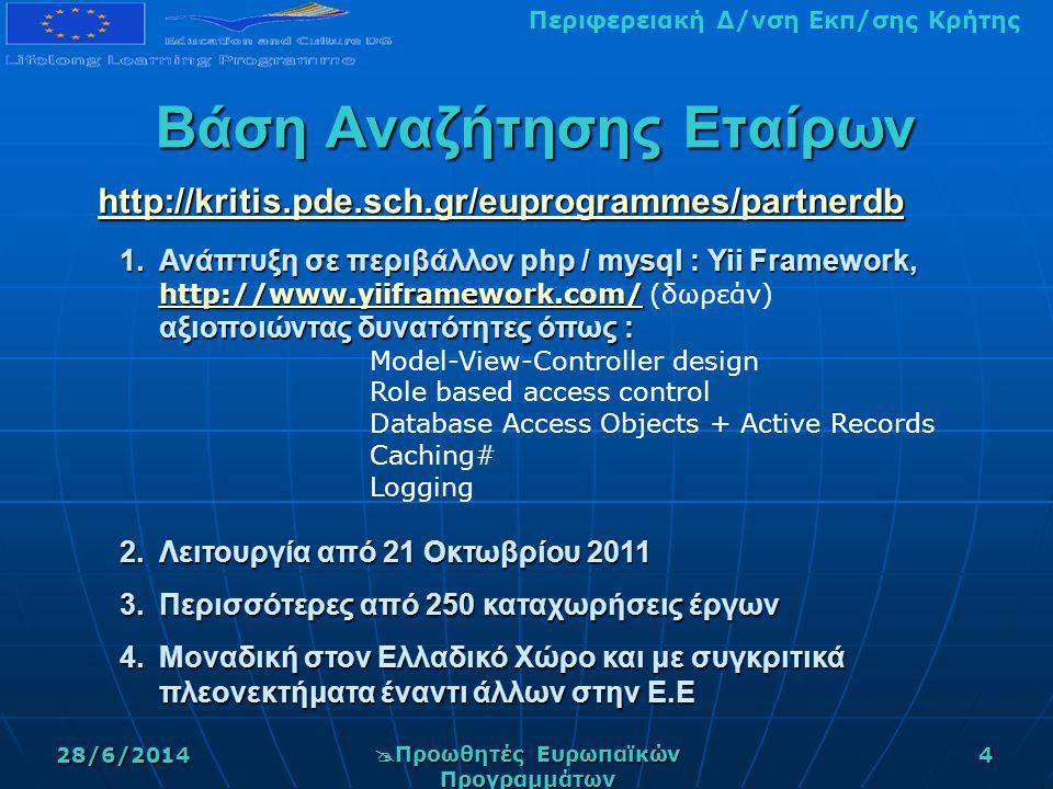 Περιφερειακή Δ/νση Εκπ/σης Κρήτης28/6/2014  Προωθητές Ευρωπαϊκών Προγραμμάτων 4 Βάση Αναζήτησης Εταίρων http://kritis.pde.sch.gr/euprogrammes/partnerdb http://kritis.pde.sch.gr/euprogrammes/partnerdb 1.Ανάπτυξη σε περιβάλλον php / mysql : Yii Framework, http://www.yiiframework.com/ αξιοποιώντας δυνατότητες όπως : 1.Ανάπτυξη σε περιβάλλον php / mysql : Yii Framework, http://www.yiiframework.com/ (δωρεάν) αξιοποιώντας δυνατότητες όπως : http://www.yiiframework.com/ Model-View-Controller design Role based access control Database Access Objects + Active Records Caching# Logging 2.Λειτουργία από 21 Οκτωβρίου 2011 3.Περισσότερες από 250 καταχωρήσεις έργων 4.Μοναδική στον Ελλαδικό Χώρο και με συγκριτικά πλεονεκτήματα έναντι άλλων στην Ε.Ε