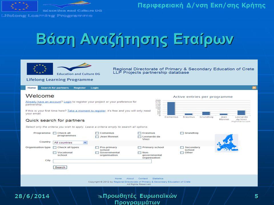 Περιφερειακή Δ/νση Εκπ/σης Κρήτης28/6/2014  Προωθητές Ευρωπαϊκών Προγραμμάτων 5 Βάση Αναζήτησης Εταίρων